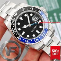 Wholesale batman resale online - VFactory Classic Top Real GMT Uhr Ceramic Bezel Mens Fashion Batmans Mechanical Automatic Movement Watch men date Watches Wristwatches