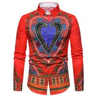 traditioneller kleidermann großhandel-3D Herz Print Shirt Männer Traditionelle Ethnische Gedruckt Mens Dress Shirts Schlank Langarm Sozialhemd Männliche Camisas Masculinas