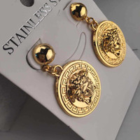 Wholesale plate head for sale - Group buy Hot New HipHop Medusha Head Pendant Earring With Corn Chain K Gold Plated hign quality and