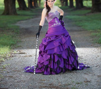 vestido roxo colorido venda por atacado-Vestido de casamento roxo gótico estratificado saias Tribunal trem sereia vestido colorido vestidos de casamento