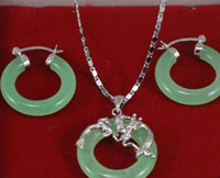 Wholesale argent necklace for sale - Group buy Necklace fashion Natural green jade Pendant necklace earrings soild argent silver set Natural jewelry