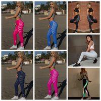 yoga hose übung großhandel-Frauen Yoga Leggings 8 Farben Gestreiften Gym Workout Fitness Dünne Übung Leggings Outdoor Sports Hosen 2 sets OOA6807