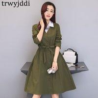 ingrosso giacca verde a forma di primavera di primavera-Giacca a vento da donna primavera autunno autunno 2018 moda coreana lunga selvaggia femminile verde militare plus size slim casual cappotti Mujer