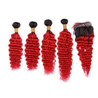 ingrosso capelli di trama colorata-Ombre di colore rosso con trama di capelli ricci Deeo con chiusura 4x4 Two Tone 1B di colore rosso con chiusura di capelli con onda profonda