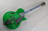 Wholesale green guitar hardware resale online - Tree of Life inlay fretboard F hole jazz guitar electric guitar bigsby beauty green with gold hardware