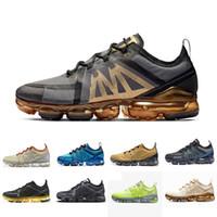 en yeni koşu ayakkabıları toptan satış-nike air vapormax 2019 Yeni Hava yastığı Marka yeni ayakkabı adam 2019 sneakers Kanyon Altın Alüminyum Mavi erkek kadın siyah kırmızı beyaz eğitmen spor koşu ayakkabısı