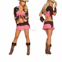 roupas de látex rosa venda por atacado-New Pink Country Cowgirl Roupa Adulto Traje de Circo Halloween Masquerade Sexy West Cowboy Uniformes Role Play Clothes A444203