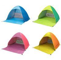 tente de plage ouverte achat en gros de-Tente de camping automatique été plage jetez la tente 2 personnes instantanée pop up ouvert anti UV tentes auvent extérieur sunshelter