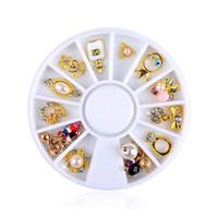 projetos da roda de prego venda por atacado-1 roda misturada arco pérola coroa flor strass para unhas 3d pedras de cristal para unhas decorações da arte diy design manicure diamantes