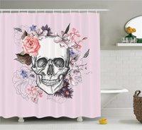 tecido do crânio do bebê venda por atacado-Crânio e Flores Cerimônia Comemorando Art Design Vintage Print, Tecido Banheiro Decor Set com Ganchos, 70 Polegadas, Baby Pink Preto Branco