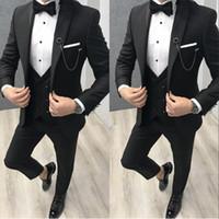 Wholesale british navy buttons resale online - 2020 New Classy British Black Wedding Tuxedos Mens Suits Slim Fit Peaked Lapel Prom BestMan Groomsmen Blazer Jacket Pants Tie Vest