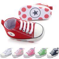bebek yumuşak taban ayakkabıları toptan satış-Yeni Tuval Kız Erkek Yenidoğan Ayakkabı Için Bebek Sneaker Spor Ayakkabı Bebek Yürüteç Bebek Yürüyor Yumuşak Alt kaymaz Ilk Yürüyüşe