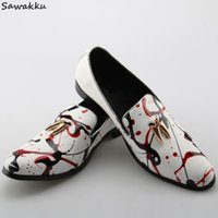 мужская белая обувь оптовых-Italian Style  Fashion Men's Loafers Flats White Leather Painting Driving Shoes Graffiti Slip On Mens Casual Shoes Size 46