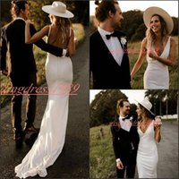 Wholesale black white v neck fitted dress online - Simple Beach Open Back Mermaid Wedding Dresses V Neck Backless Fitted Garden Bride Dress african Boho Country Bridal Gown Formal Wear Custom