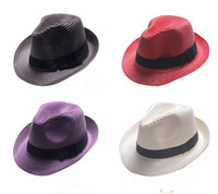 Wholesale solid straw fedora hat online - Fashion Womens Mens Unisex Fedora Trilby Cap Summer Beach Sun Straw Panama Hat woman jazz Hat