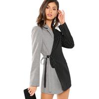taillenmantel krawatte großhandel-Frauen Herbst Blazer und Jacken Colorblock Tie Taille Surplice Wrap Womens Blazer gekerbte Oberbekleidung Damen langen Mantel