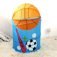 karikatürler kutuları toptan satış-Orijinal eldiven bölmesi Karikatür Basketbol Depolama kova Oyuncaklar Su Geçirmez Bez Kutusu Polyester Bin Polyester elyaf Yeni Varış 15 5yx k1