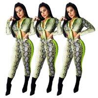 tulum tarzı moda toptan satış-Moda Stil Yılan Derisi Baskı Tulum Kadın İki Adet Tulum Uzun Kollu Vücut Mujer