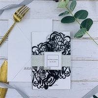 bandas de flor venda por atacado-Exclusivo Black Bloom - convites de casamento de corte a laser com Glitter Silver Belly Band, casamento de renda convida Design grátis
