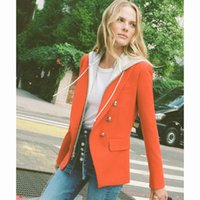 rote partykleidungsfrauen großhandel-2019 Red Langarm Jacke Jacke Metallschnalle Sexy Abend Party Bodycon Großhandel Damenbekleidung Herbst Zweireiher Anzug J1