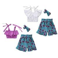 çiçek borusu üstleri toptan satış-Toddler Kız Kısa Elbise Bebek Kız Kıyafetler Giyim Kapalı Omuz Sling Papyon Tüp Kafa Üç Parçalı Set Ile Çiçek Bağcıklı Şort Tops