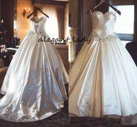 taffeta schnüren sich oben kristallhochzeitskleid großhandel-Luxus Kristall Lace-up Brautkleider 2019 Perlenstickerei Schatz Vintage Korsett Sweep Zug Taft Prinzessin Kirche Hochzeitskleid