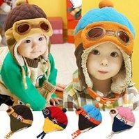 baby pilot beanie mützen großhandel-Bluelans Winter Baby Earflap Mädchen Junge Kinder Pilot Aviator Cap Warme weiche Mütze Hut