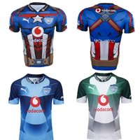 super-héros comique achat en gros de-2019-20 Nouveaux Super Rugby Hommes Sud-Africains Taureaux Vodacom Marvel Comique Super Héros Captain America Réplique Jersey