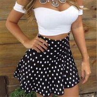 camisa azul lunares blancos al por mayor-Summer Party Fashion Cute Women Ladies manga corta con hombros descubiertos Slash Neck Camisa blanca Top Polka Dot Print Blue Mini Skirt 2PCS