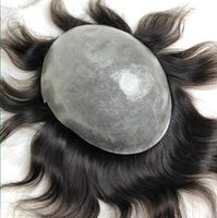 Wholesale chinese virgin hair lace wigs resale online - Men Hair System Wig Full Thin Skin Toupee Straight Full PU Toupee Off Black b Chinese Virgin Human Hair Replacement for Black Men
