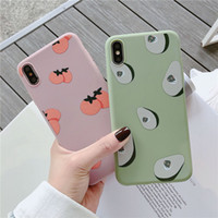 Wholesale fruit case for iphone for sale – best Summer Fruits avocado persimmon Phone Case For iphone X XS XR XS Max S Plus Green Soft TPU Back Cover Gift