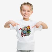 pamuk süper kahraman tişörtler toptan satış-Ultra-düşük fiyatlar 2019 superhero marvel comics film karakterleri beyaz baskılı pamuk kısa kollu Tişört yaz çocuklar için yumuşak ...