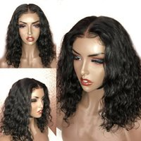 Wholesale wavy synthetic full lace wig resale online - 180density full brazilian Short wavy wig natural black loose wave Bob Wig For Black Women synthetic lace wig Pre Plucked with Baby Hair