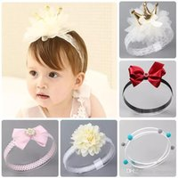 Wholesale artificial flowers for hair bows resale online - Free DHL Summer Tiaras Bohemian Hairbands Sequin Turban Twist Wraps Twisted Knot Soft Flower Bandanas Handmade Baby Headbands for M