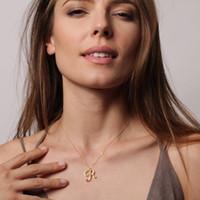 necklace r toptan satış-1 adet Minimalist Cursive İlk Alfabe R İngilizce Kolye tiny İngilizce kelime İlk Harf R monogram charm Metal Nişan kolye