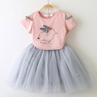 Wholesale bow veils resale online - Girls Summer Clothing Sets Fashion Style Cartoon Kitten Printed T Shirts Net Veil Dress Outfits Girls Clothes