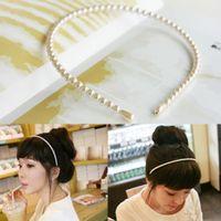 diadema perla coreana blanco al por mayor-Hermosos accesorios para el cabello 1PC Exquesite White Valentines Gift Diadema Imitación Pearl 2018 Recién llegado de Corea de alta calidad