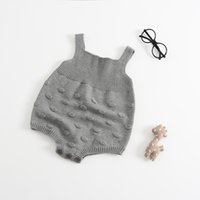 Wholesale outside ball resale online - Infant Autumn Cotton Knit Romper Sleeveless Solid Bubble Ball Wool Jumpsuit Kids Designer Onesies Girls Soft Outside Outfits T