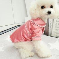 рубашки с коричневой кошкой оптовых-Собака рубашка Пижама щенок Тедди мягкий для малой Большой Собаки Одежды Pet Эпикировки собака Polo Ночных пижам Йоркширского терьера