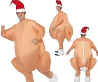 adultos inflables disfraces de halloween al por mayor-Inflable pavo asado de pollo de disfraces de Halloween para adultos inflable Puntales de Navidad del vestido de lujo traje de la mascota Turquía Ropa Forma calientes