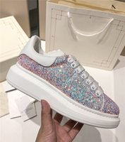 ingrosso scarpe casual uomo per l'estate-Mens Womens Top Estate Casual Shoes in pelle piattaforma velluto glitter Sneakers scarpe nere Purple Glitter Zapatillas