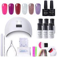 conjunto de caja de arte de uñas al por mayor-HNM 18pcs / Kit Gel Nail Polish Nail Art Tool Set DIY UV LED Removedor de lámpara Wraps Sticker Box Gift Varnish Lacquer Gellak Sets