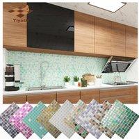 3d mozaik kiremit toptan satış-Mozaik Duvar Karosu Peel ve Sopa Kendinden yapışkanlı Backsplash DIY Mutfak Banyo Ev Duvar Sticker 3D