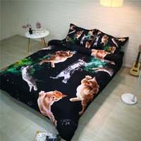 lits de chat modernes achat en gros de-3D Belle Cat Bed and Literie Literie Microfibre noir moderne Consolateur housse de couette US Reine pour adultes Linge de lit Lit
