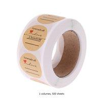 ingrosso adesivo rotondo di tenuta del regalo-500pcs 25mm rotonda carta Kraft fatti a mano con adesivi di tenuta d'amore Candy Bag Label Packing Gift