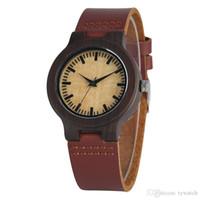 relógios de pulso bege venda por atacado-Relógio de madeira artesanal de ébano natural para mulheres Premium Dark Brown pulseira de couro Relógio de pulso de discagem clara bege Dial relógios de madeira de quartzo