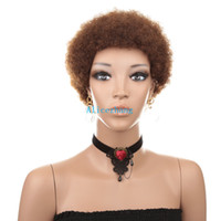 Wholesale natural human hair afro wigs for sale - Group buy Brazilian human hair Short afro curly wigs natural color machine made kinky curly wigs for black women