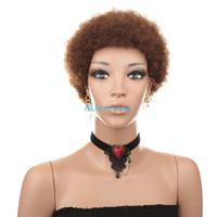 maquina para hacer rizado al por mayor-Cabello humano brasileño Pelucas rizadas afro corta color natural hecho a máquina rizado rizado pelucas para mujeres negras