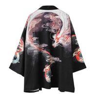 abrigo de dragón chino al por mayor-11 Estilo Camisa Kimono Dragón Japonés Hombres Mujeres Cardigan Protector Solar Capa Fina Ukiyo-e Pintada Túnica Capa de Impresión de Estilo Chino Vintage