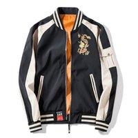 japan coat homens do estilo venda por atacado-EUA tamanho dragão bordado jaqueta homens streetwear estilo japão jaqueta de beisebol jaqueta de inverno do vintage jaquetas masculinas dg146